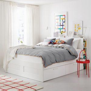 IKEA - BRIMNES Bedframe met opberger en bedeinde - 180x200 cm - Wit