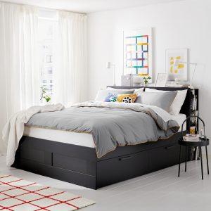 IKEA - BRIMNES Bedframe met opberger en bedeinde - 140x200 cm - Zwart