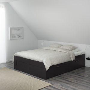 IKEA - BRIMNES Bedframe met opberglades - 140x200 cm - Zwart