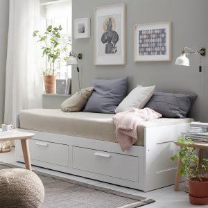 IKEA - BRIMNES Bedbank met 2 lades/2 matrassen - 80x200 cm
