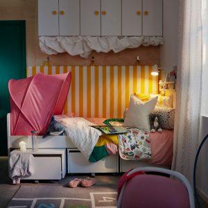 IKEA - SLÄKT Bedframe met 3 opberglades - 90x200 cm - Wit