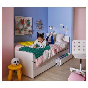 IKEA - SLÄKT Bedframe met onderbed en opberger - 90x200 cm - Wit