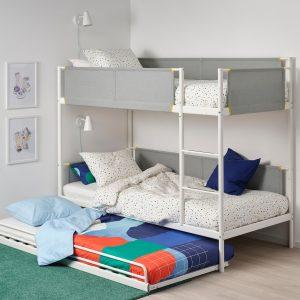 IKEA - VITVAL Bedframe stapelbed met onderbed - 90x200 cm - Wit/lichtgrijs