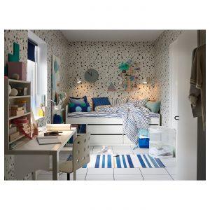 IKEA - SLÄKT Bedframe met opberger+lattenbodem - 90x200 cm - Wit