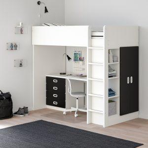 IKEA - STUVA / FRITIDS Hoogslapercombi m 4 lades/2 deuren - 207x99x182 cm - Wit/krijtbordoppervlak